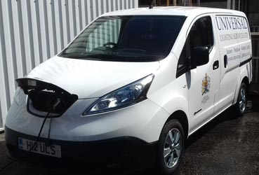 Nissan E-NV200 electric van on charge - Universal lighting Services Ltd
