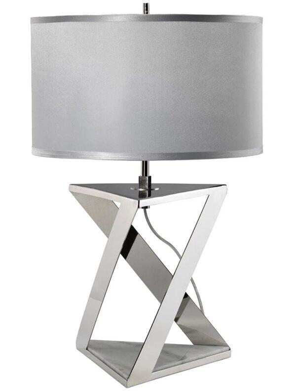 Elstead Aegeus 1 Light Table Lamp Polished Nickel Grey Shade
