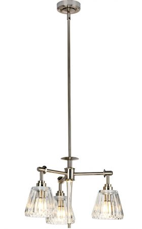 Elstead Agatha 3 Light Bathroom Chandelier Brushed Nickel IP44