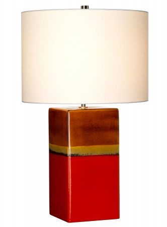 Elstead Alba Ceramic Table Lamp Rouge Cream Linen Shade