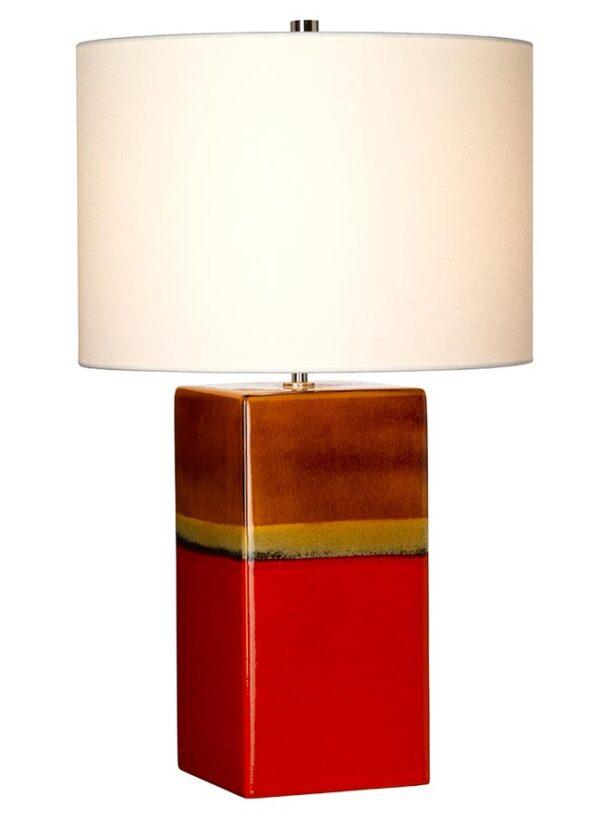 Elstead Alba Ceramic Table Lamp Rouge Cream Linen Shade