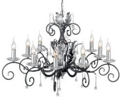 Amarilli Black And Silver 10 Light Large Chandelier