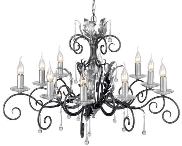 Amarilli Black And Silver 10 Light Large Chandelier