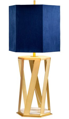Elstead Apollo 1 Light Table Lamp Brushed Brass Navy Blue Shade