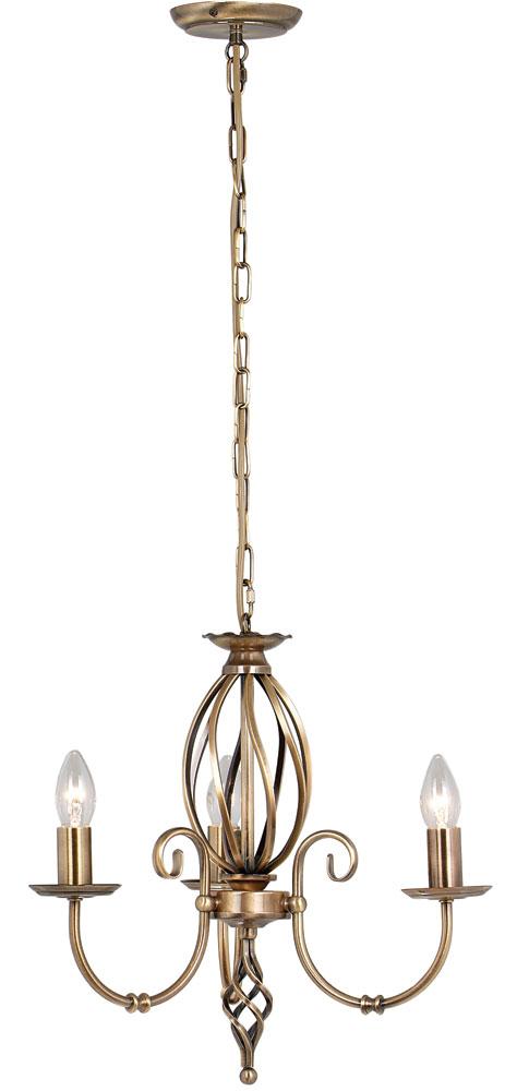 Elstead Artisan 3 Light Dual Mount Chandelier Aged Brass Ironwork