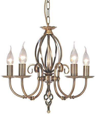 Elstead Artisan 5 Light Dual Mount Chandelier Aged Brass Ironwork