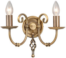 Elstead Artisan 2 Arm Twin Wall Light Aged Brass Forged Ironwork