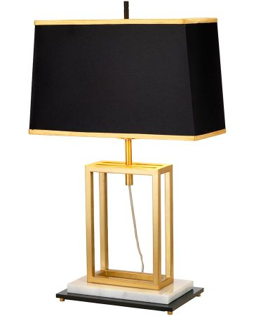 Elstead Atlas 1 Light Table Lamp Burnished Brass Black Shade