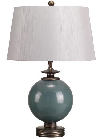 Elstead Babushka Blue Ceramic Orb Table Lamp Silver Shade