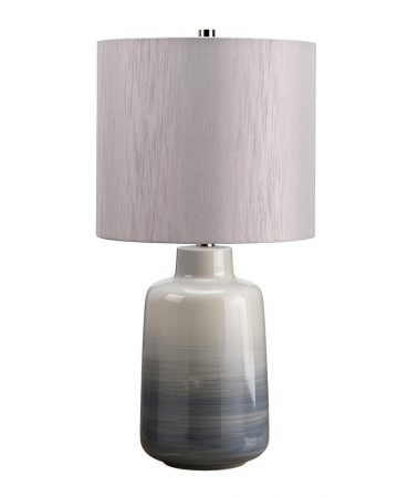 Elstead Bacari Small Blue Grey Ceramic Table Lamp Silver Shade