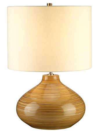 Elstead Bailey Wood Effect Ceramic Table Lamp Cream Shade