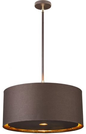 Elstead Balance Brown / Polished Brass 1 Light Gold Lined Drum Pendant