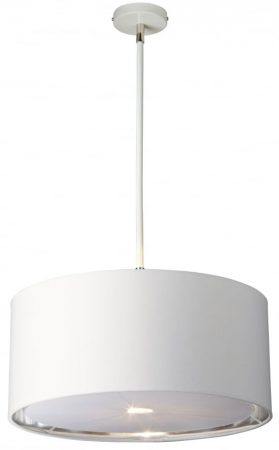 Elstead Balance White / Polished Nickel 1 Light White Drum Pendant