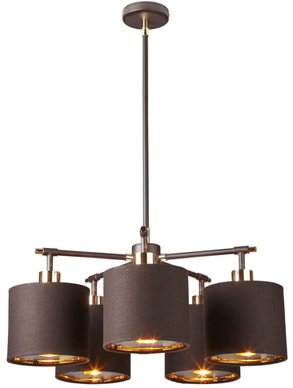 Elstead Balance Brown / Polished Brass 5 Light Chandelier Gold Lined Shades