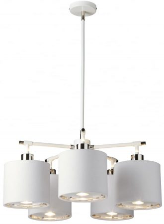 Elstead Balance White / Polished Nickel 5 Light Chandelier White Shades