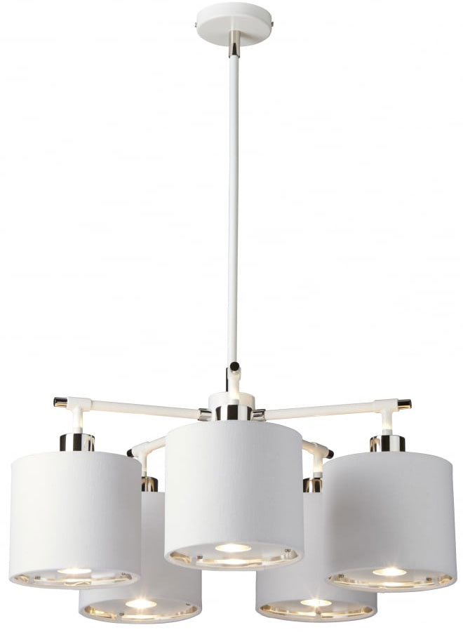 elstead balance white polished nickel 5 light chandelier white shades