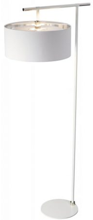 Elstead Balance White / Polished Nickel Floor Lamp White Drum Shade
