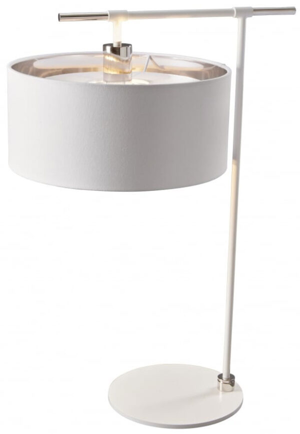 Elstead Balance White / Polished Nickel Table Lamp White Drum Shade