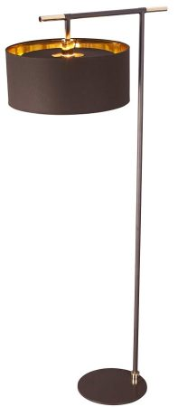 Elstead Balance Brown / Polished Brass Floor Lamp Gold Lined Shade