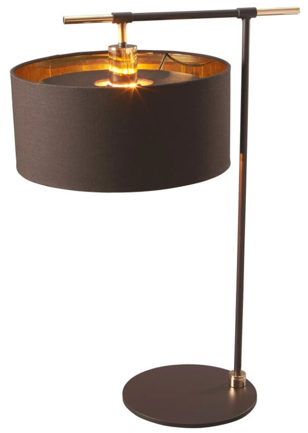 Elstead Balance Brown / Polished Brass Table Lamp Gold Lined Shade
