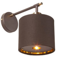 Elstead Balance Brown / Polished Brass Wall Light Gold Lined Shade