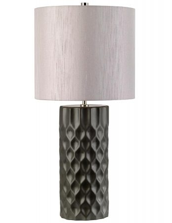 Elstead Barbican Graphite Ceramic Table Lamp Silver Shade
