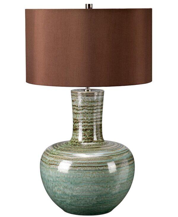 Elstead Barnsbury Green Ceramic Table Lamp Brown Shade