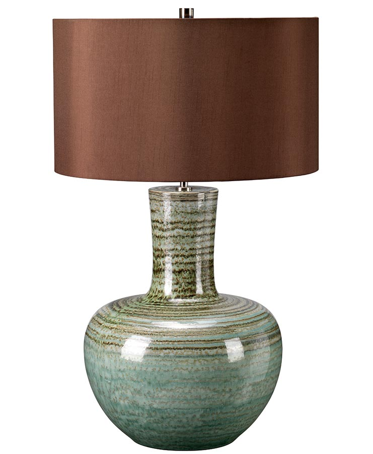 Elstead Barnsbury Green Ceramic Table Lamp Brown Shade ...