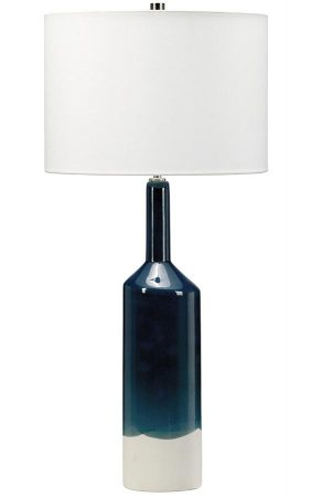 Elstead Bayswater Blue & White Ceramic Table Lamp White Shade