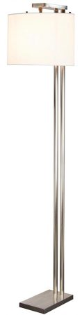 Elstead Belmont Contemporary Floor Lamp Brushed Nickel White Shade