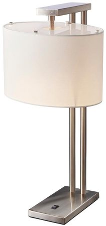 Elstead Belmont Contemporary Table Lamp Brushed Nickel White Shade