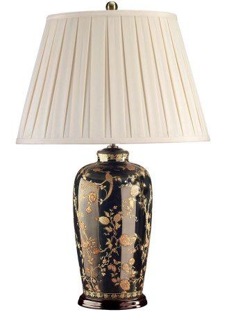 Black Birds Ceramic Vase Table Lamp Black Gold Cream Pleat Shade