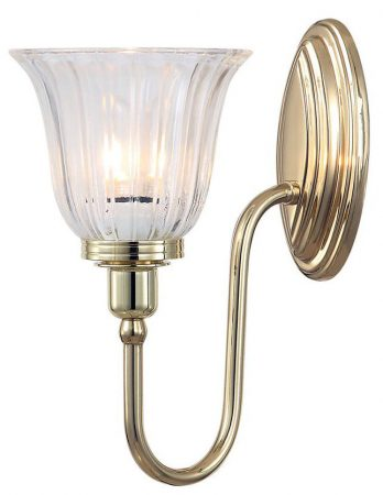 Elstead Blake Bathroom Wall Light Fluted Shade Swan Neck Polished Brass