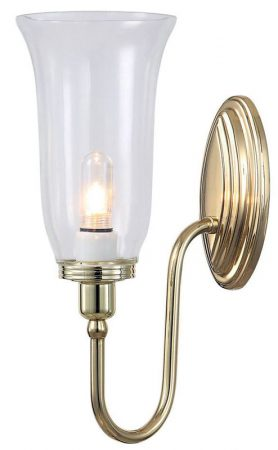 Elstead Blake Bathroom Wall Light Storm Glass Swan Neck Polished Brass