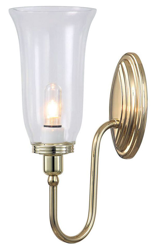 Polished Brass Bathroom Faucet: Elstead Blake Bathroom Wall Light Storm Glass Swan Neck