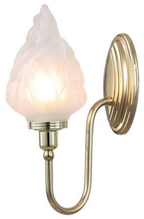 Elstead Blake Bathroom Wall Light Flambeau Shade Swan Neck Polished Brass