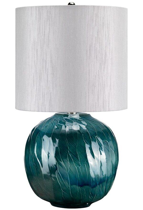 Elstead Blue Globe 1 Light Ceramic Table Lamp Grey Shade