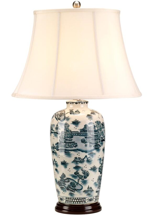 Large Blue & White Traditional Ceramic Table Lamp Cream Shade