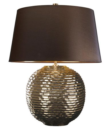 Elstead Caesar Gold Ceramic Table Lamp Brown Shade