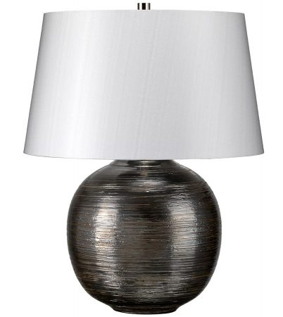 Elstead Caesar Silver Ceramic Table Lamp Silver Shade