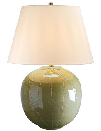 Elstead Cantaloupe Green Ceramic Table Lamp Cream Shade