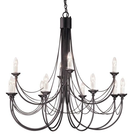 Elstead Carisbrooke 12 Light Large Chandelier Gothic Black Made In Britain