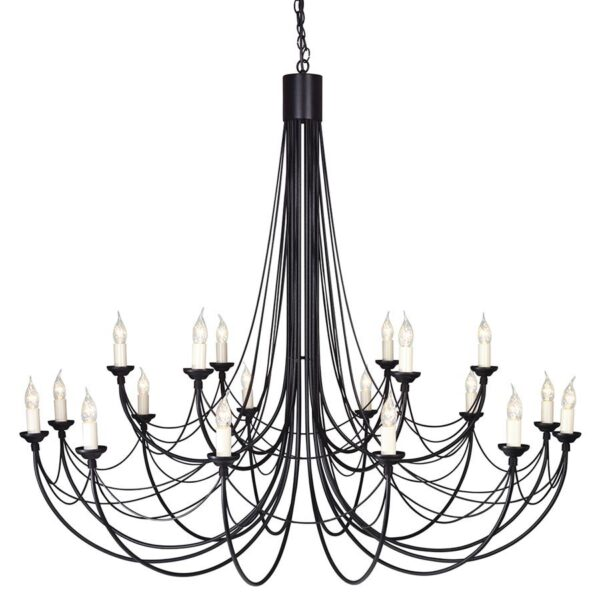Elstead Carisbrooke 18 Light Massive Chandelier Gothic Black Ironwork