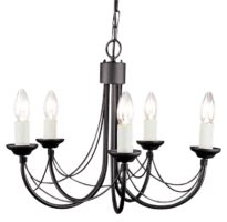 Elstead Carisbrooke 5 Light Dual Mount Chandelier Gothic Black