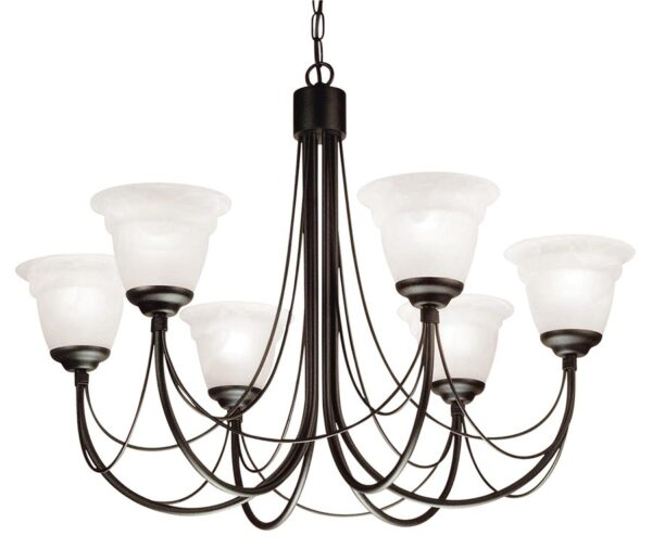Elstead Carisbrooke 6 Light Dual Mount Chandelier Gothic Black