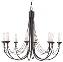 Elstead Carisbrooke 8 Light Large Chandelier Gothic Black Made In Britain