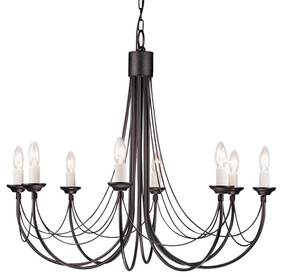 Elstead Carisbrooke 8 Light Large Chandelier Gothic Black