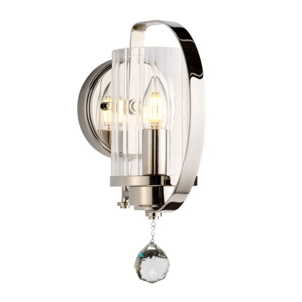 Elstead Cassie Single Polished Nickel Wall Light Ribbed Glass Shade