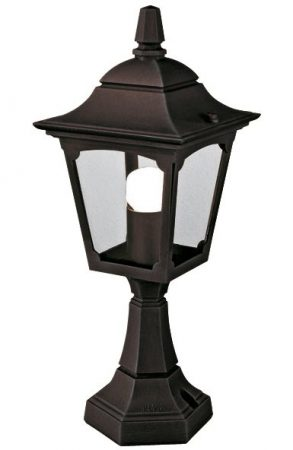 Elstead Chapel 1 Light Outdoor Gate Post Lantern Black Clear Glass
