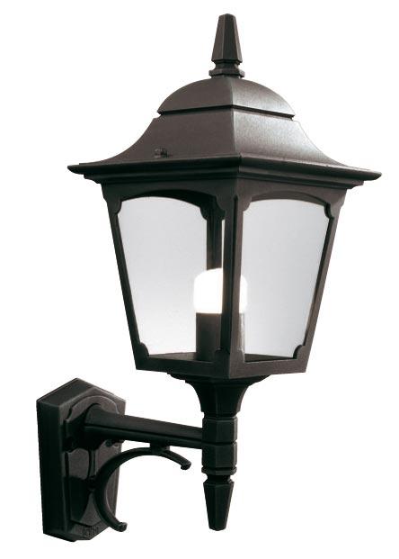 Elstead Chapel 1 Light Upward Outdoor Wall Lantern Black Clear Glass